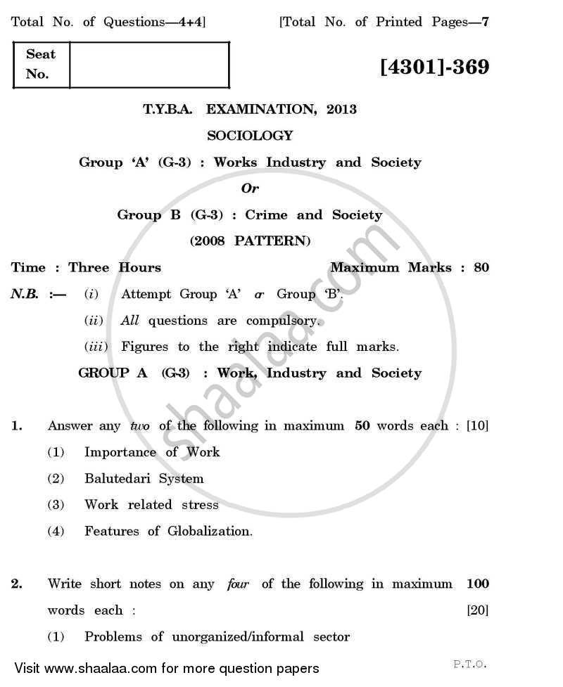 Question Paper - Sociology General Paper 3- Work and Society 2012 - 2013 - B.A. - 3rd Year (TYBA) - University of Pune