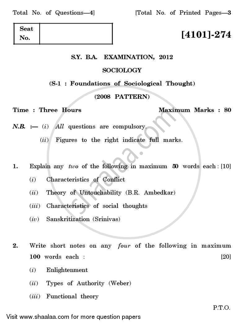 Question Paper - Sociology Special Paper 1- Foundations of Sociological Thought 2011 - 2012 - B.A. - 2nd Year (SYBA) - University of Pune