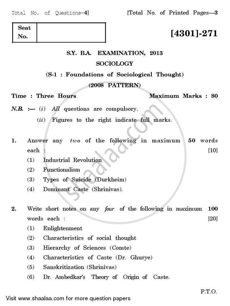 Question Paper - Sociology Special Paper 1- Foundations of Sociological Thought 2012 - 2013 - B.A. - 2nd Year (SYBA) - University of Pune