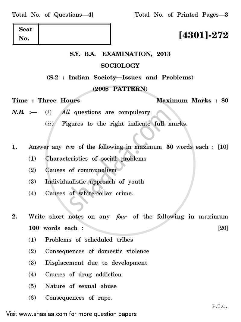 Question Paper - Sociology Special Paper 2- Indian Society: Issues and Problems 2012 - 2013 - B.A. - 2nd Year (SYBA) - University of Pune