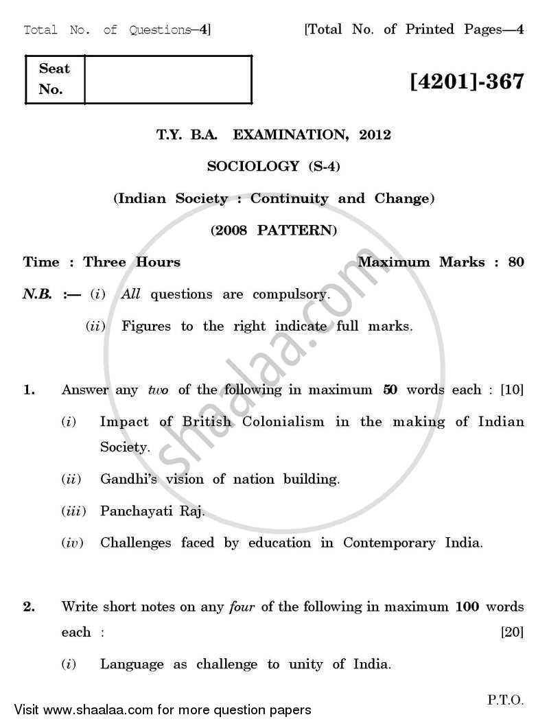 Sociology Special Paper 4- Indian Society: Continuity and Change 2012-2013 - B.A. - 3rd Year (TYBA) - University of Pune question paper with PDF download