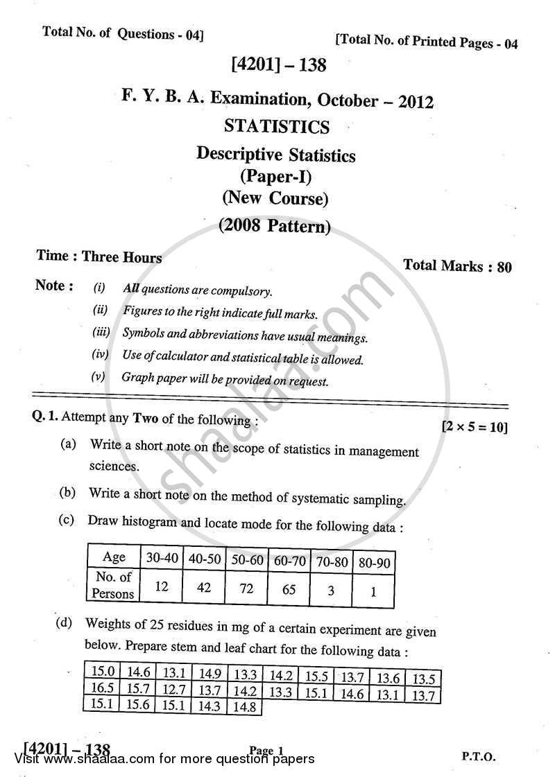Question Paper - Statistics- Descriptive Statistics 2012 - 2013 - B.A. - 1st Year (FYBA) - University of Pune