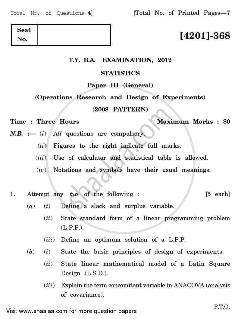 Statistics General Paper 3- Design of Experiments and Operations Research 2012-2013 - B.A. - 3rd Year (TYBA) - University of Pune question paper with PDF download