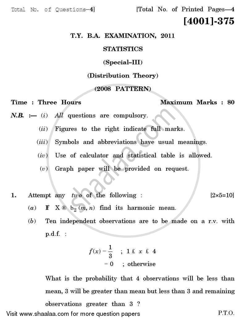 Question Paper - Statistics Special Paper 3- Distribution Theory 2011 - 2012 - B.A. - 3rd Year (TYBA) - University of Pune