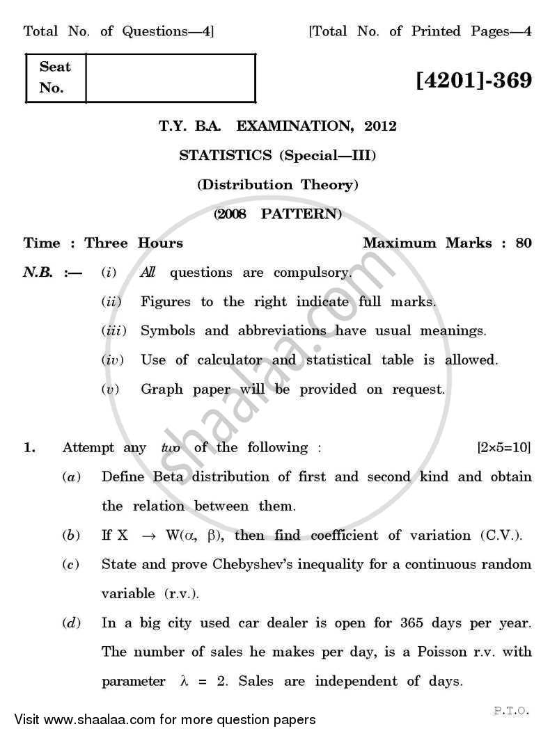 Question Paper - Statistics Special Paper 3- Distribution Theory 2012 - 2013 - B.A. - 3rd Year (TYBA) - University of Pune