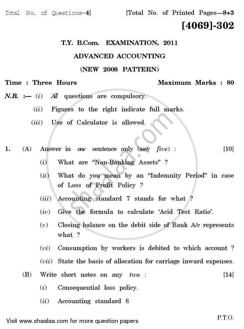 Question Paper - Advanced Accounting 2011 - 2012 - B.Com. - 3rd Year (TYBcom) - University of Pune