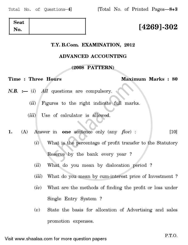Question Paper - Advanced Accounting 2012 - 2013 - B.Com. - 3rd Year (TYBcom) - University of Pune