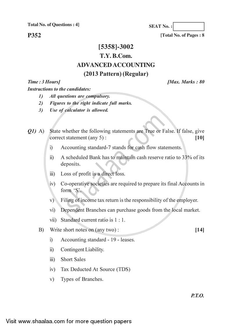 Question Paper - Advanced Accounting 2017-2018 - B.Com. - 3rd Year (TYBcom) - University of Pune with PDF download