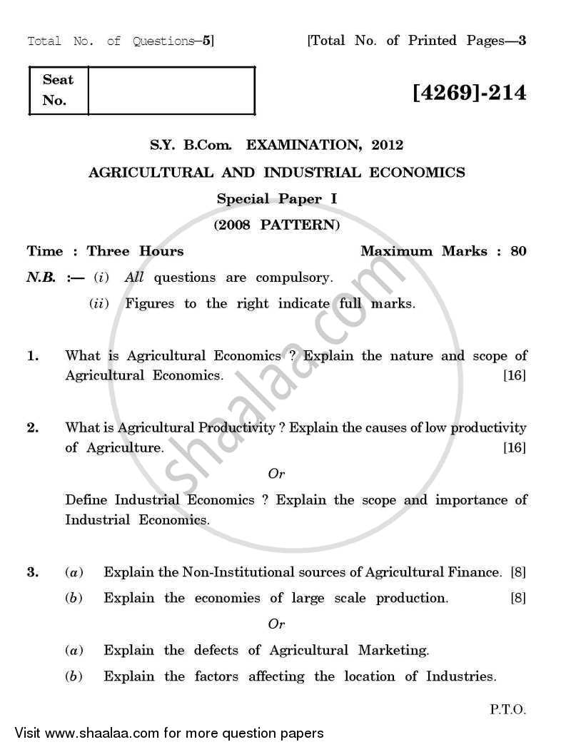 Agricultural and Industrial Economics 1 2012-2013 - B.Com. - 2nd Year (SYBcom) - University of Pune question paper with PDF download