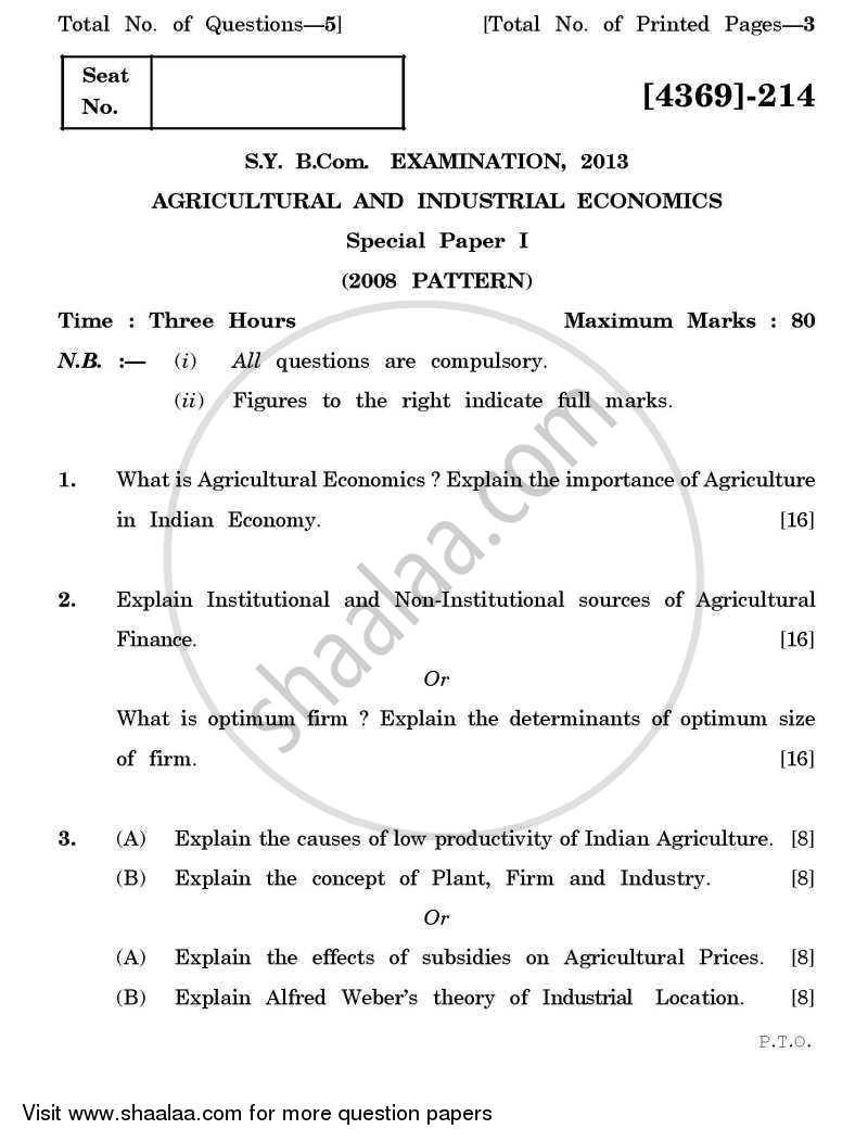 Question Paper - Agricultural and Industrial Economics 1 2012 - 2013 - B.Com. - 2nd Year (SYBcom) - University of Pune