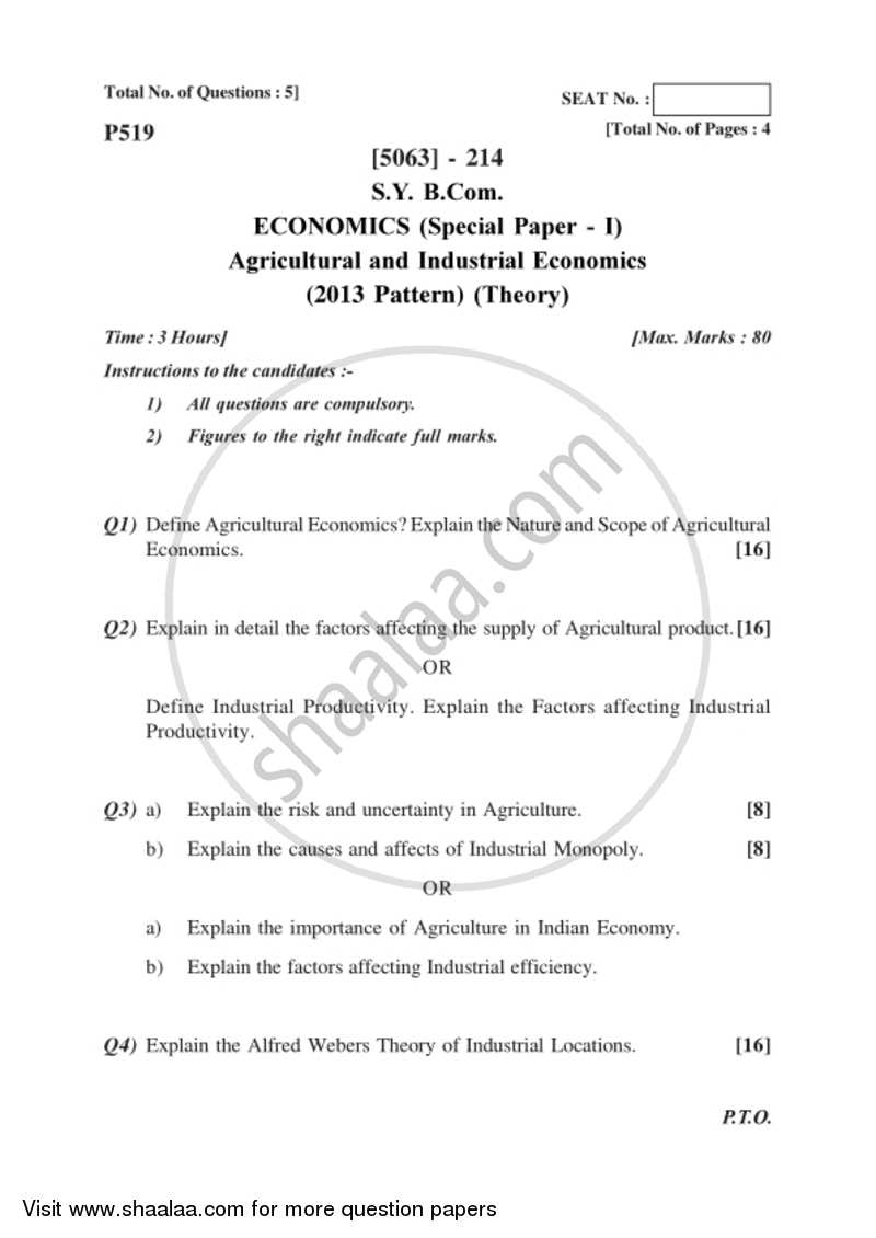 Agricultural and Industrial Economics 1 2016-2017 - B.Com. - 2nd Year (SYBcom) - University of Pune question paper with PDF download