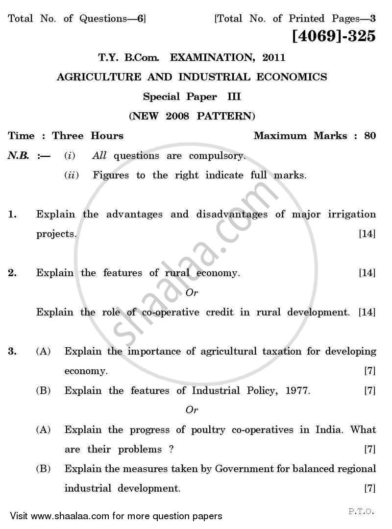 Question Paper - Agricultural and Industrial Economics 3 2011 - 2012 - B.Com. - 3rd Year (TYBcom) - University of Pune