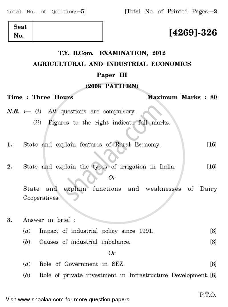 Question Paper - Agricultural and Industrial Economics 3 2012 - 2013-B.Com.-3rd Year (TYBcom) University of Pune