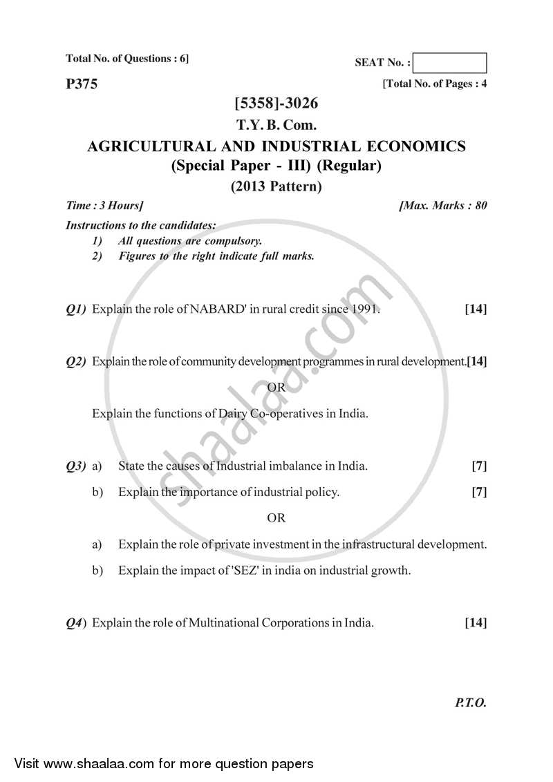 Question Paper - Agricultural and Industrial Economics 3 2017-2018 - B.Com. - 3rd Year (TYBcom) - University of Pune with PDF download
