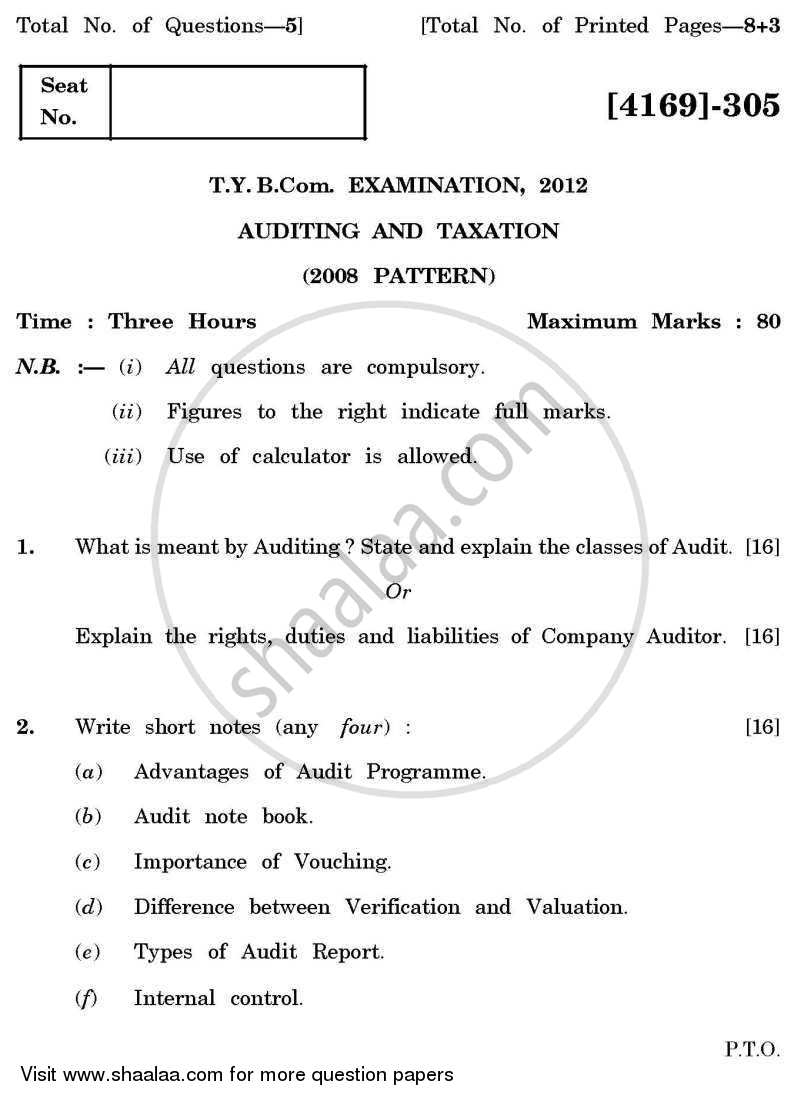 Question Paper - Auditing and Taxation 2011 - 2012 - B.Com. - 3rd Year (TYBcom) - University of Pune