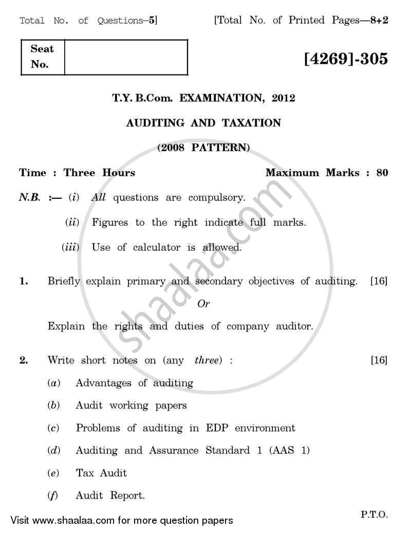 Question Paper - Auditing and Taxation 2012 - 2013 - B.Com. - 3rd Year (TYBcom) - University of Pune