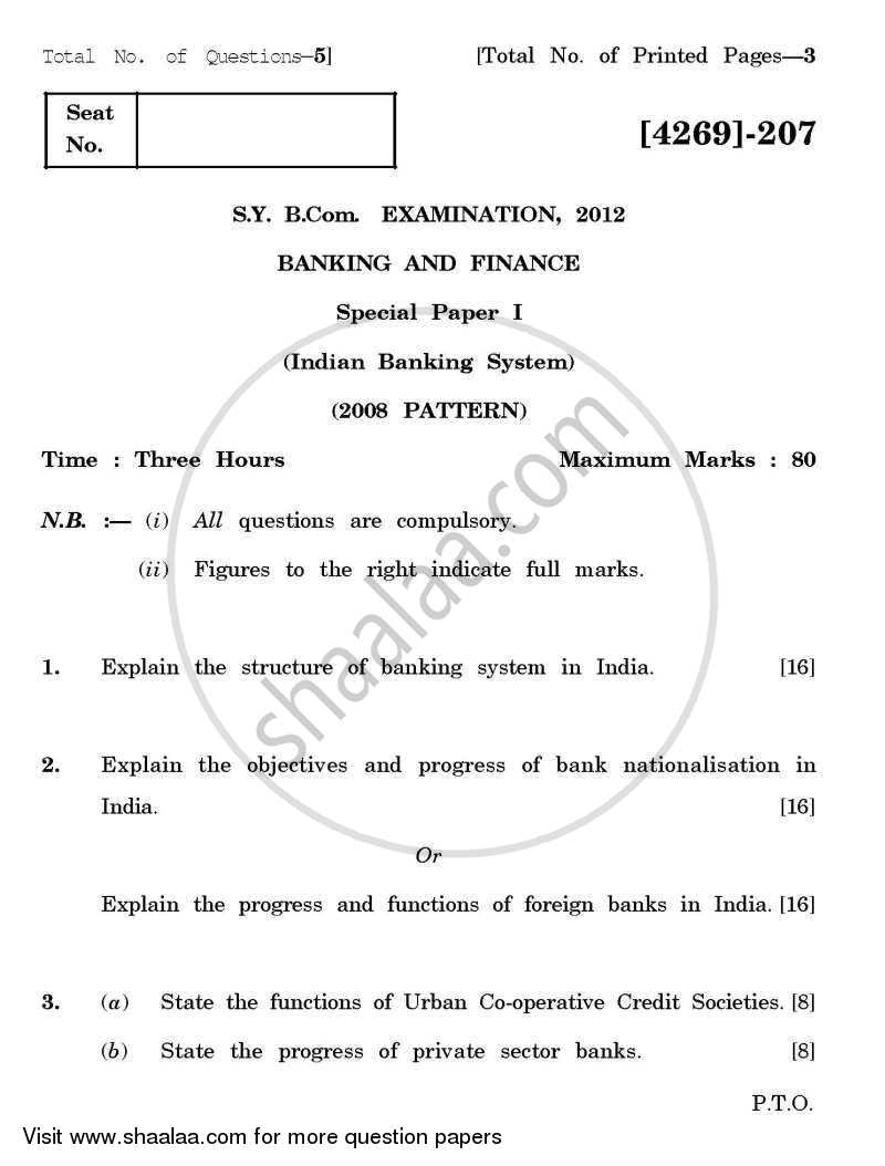 Question Paper - Banking and Finance 1 - Indian Banking System 2012 - 2013 - B.Com. - 2nd Year (SYBcom) - University of Pune