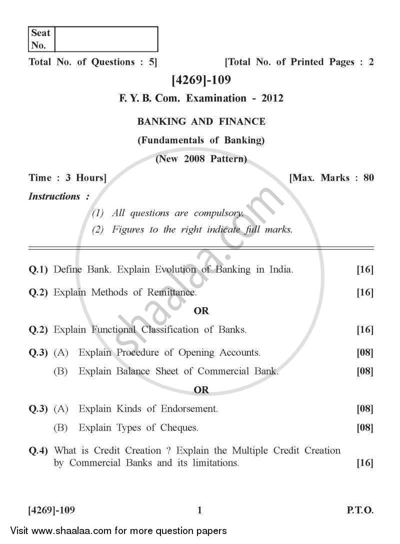 Question Paper - Banking and Finance 2012 - 2013 - B.Com. - 1st Year (FYBcom) - University of Pune