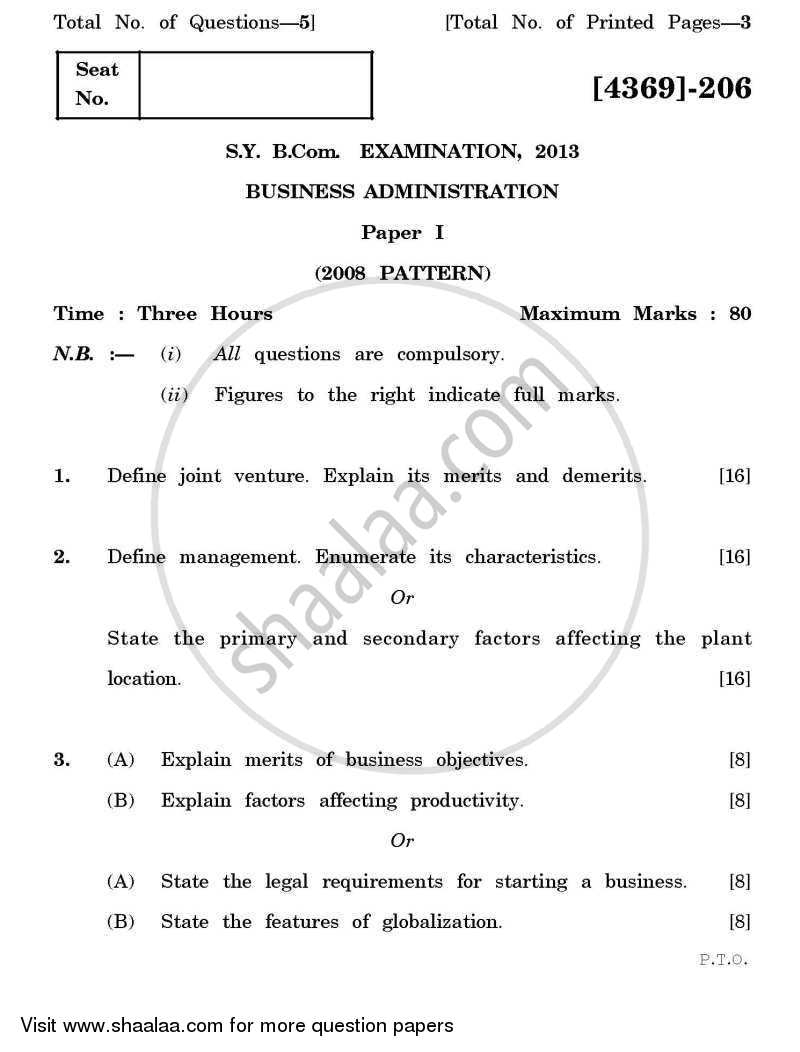 Question Paper - Business Administration 1 2012 - 2013 - B.Com. - 2nd Year (SYBcom) - University of Pune