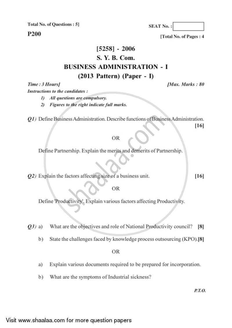 Business Administration 1 2017-2018 - B.Com. - 2nd Year (SYBcom) - University of Pune question paper with PDF download