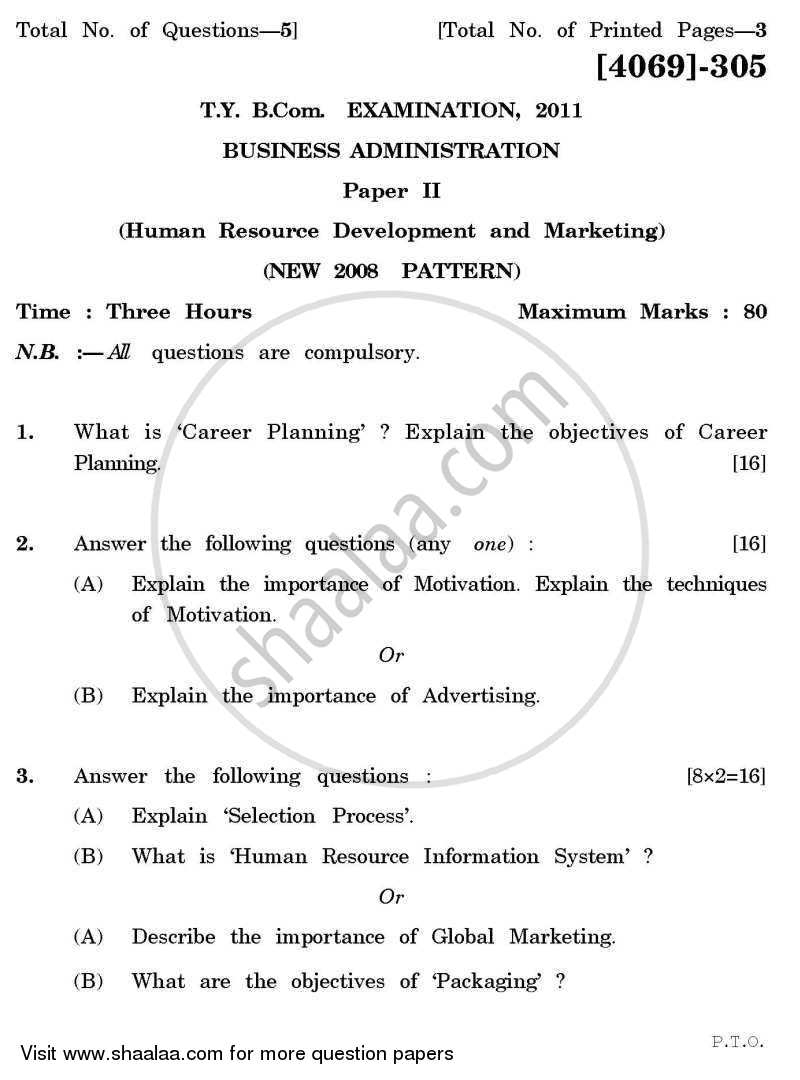 Question Paper - Business Administration 2 2011 - 2012-B.Com.-3rd Year (TYBcom) University of Pune