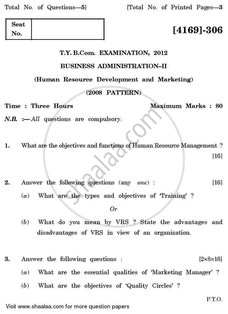 Question Paper - Business Administration 2 2011 - 2012 - B.Com. - 3rd Year (TYBcom) - University of Pune