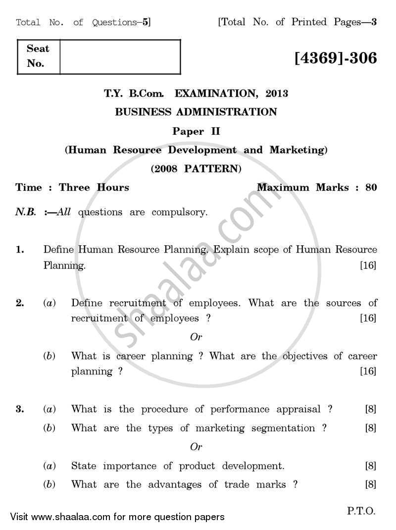 Question Paper - Business Administration 2 2012 - 2013 - B.Com. - 3rd Year (TYBcom) - University of Pune