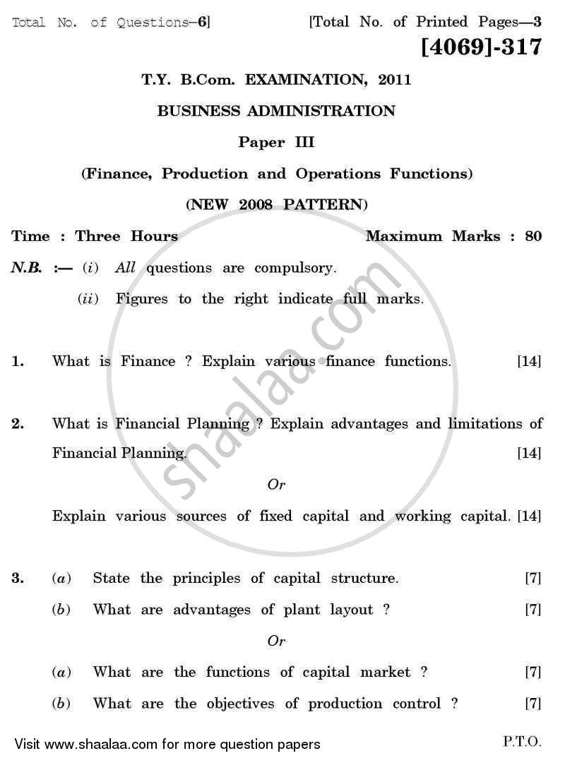 Business Administration 3 2011-2012 - B.Com. - 3rd Year (TYBcom) - University of Pune question paper with PDF download