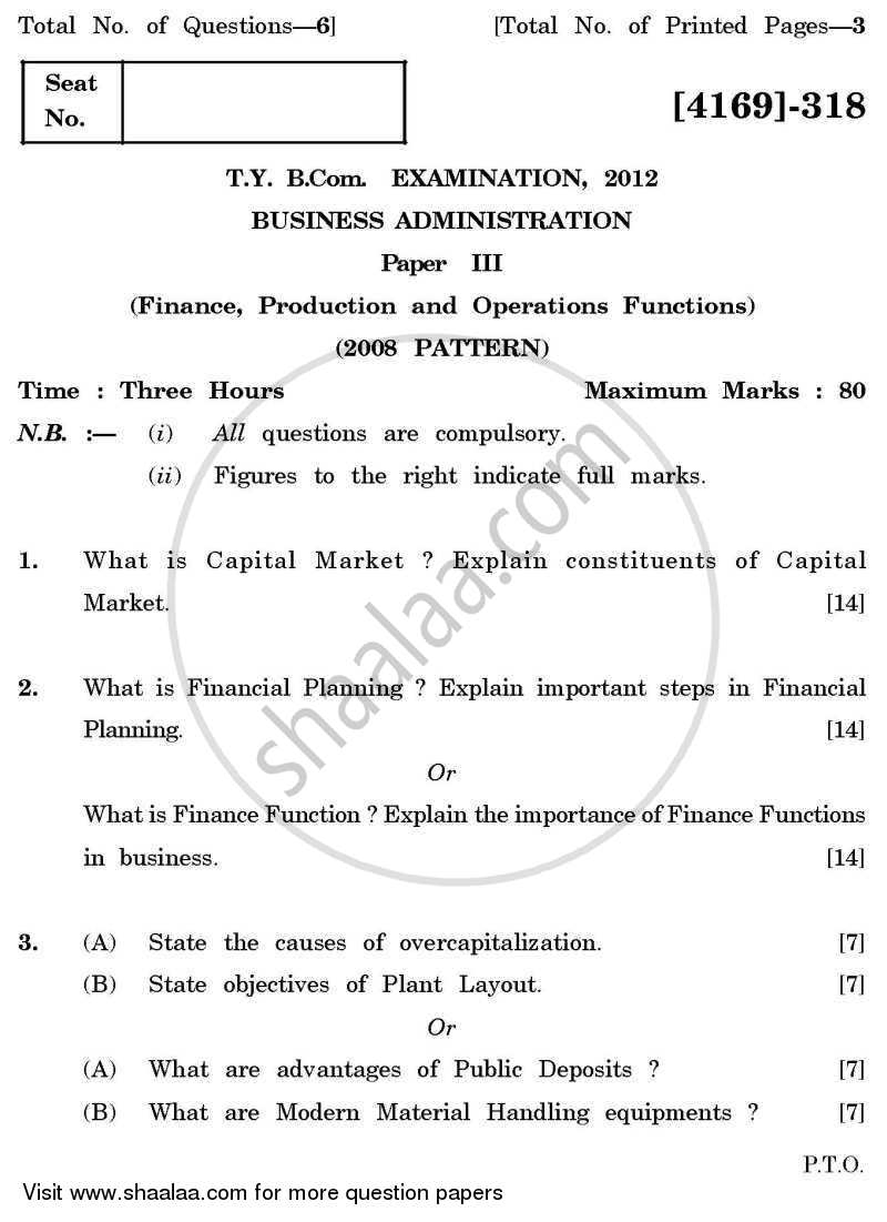 Question Paper - Business Administration 3 2011 - 2012 - B.Com. - 3rd Year (TYBcom) - University of Pune