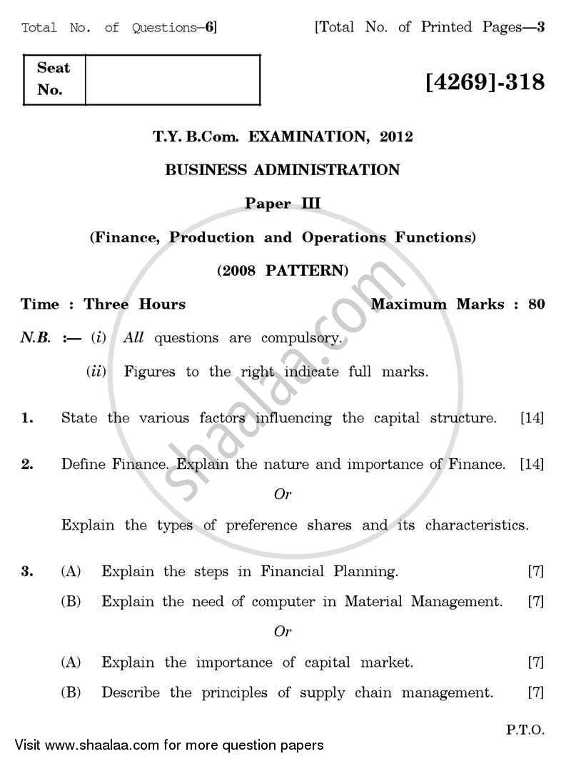 Question Paper - Business Administration 3 2012 - 2013 - B.Com. - 3rd Year (TYBcom) - University of Pune