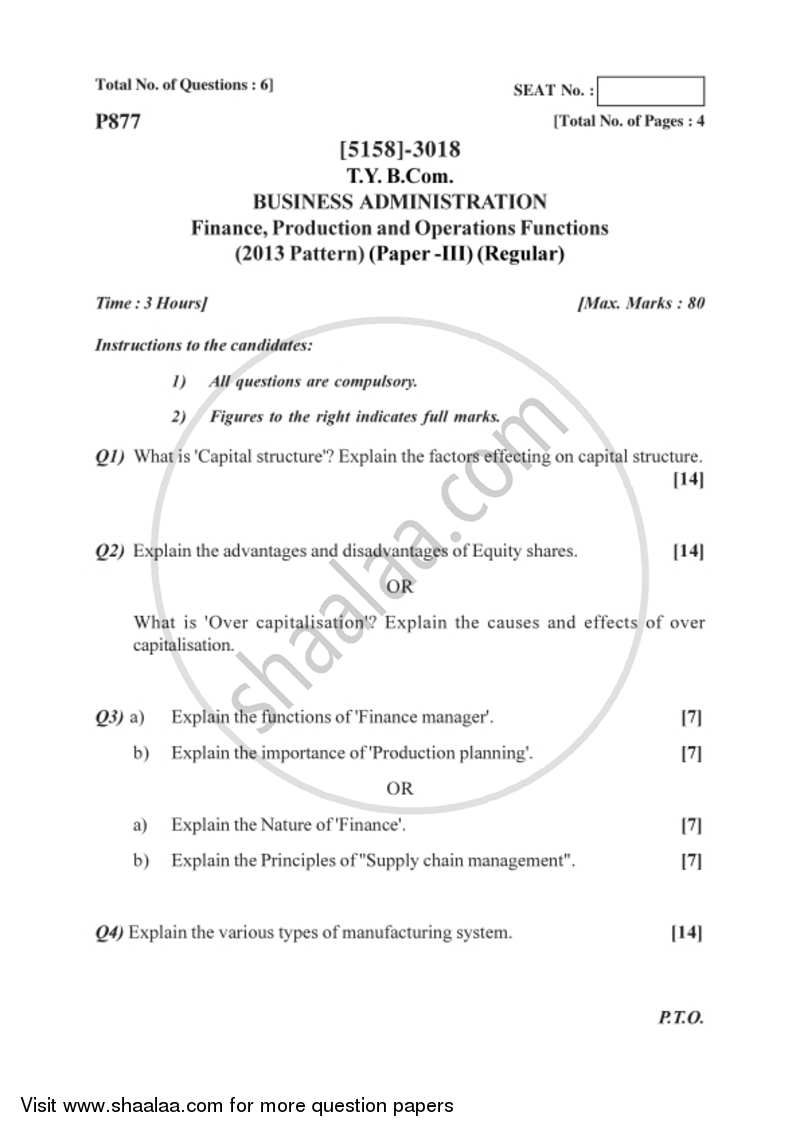 Business Administration 3 2016-2017 - B.Com. - 3rd Year (TYBcom) - University of Pune question paper with PDF download
