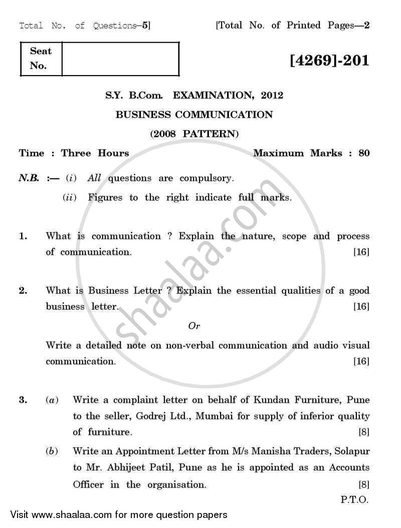 Question Paper  Business Communication    Bachelor Of