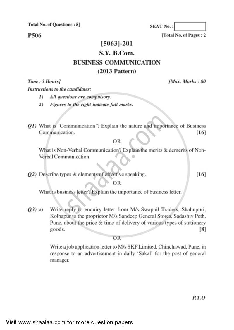 Question Paper Business Communication 2016 2017 Bachelor Of