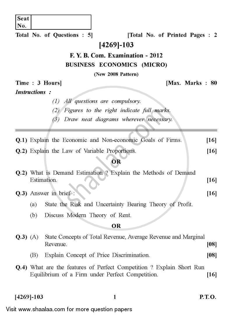 Question Paper - Business Economics 1 2012 - 2013 - B.Com. - 1st Year (FYBcom) - University of Pune