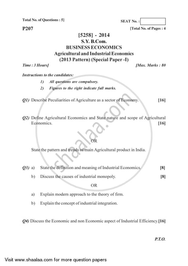 Business Economics (Macro) 2017-2018 - B.Com. - 2nd Year (SYBcom) - University of Pune question paper with PDF download