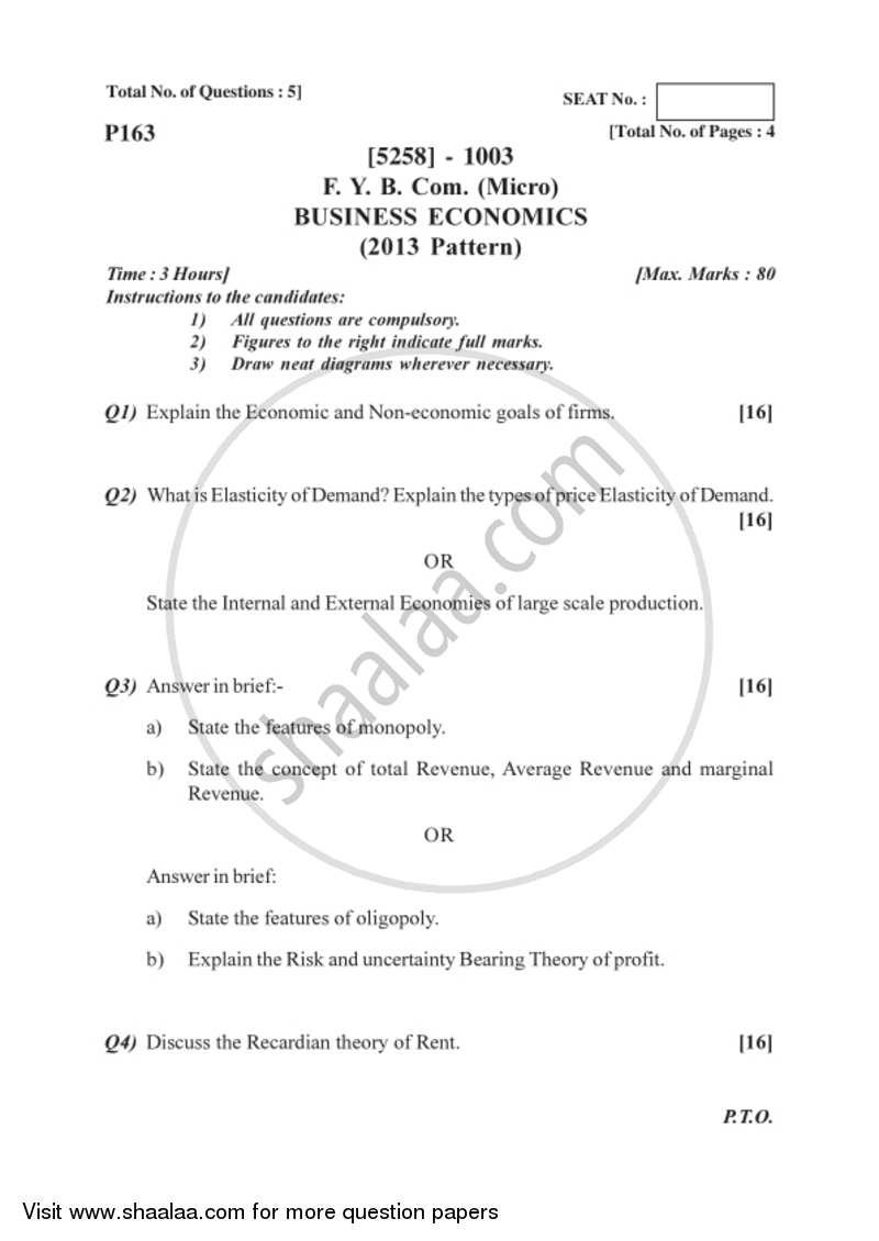 Question Paper - Business Economics (Micro) 2017-2018 - B.Com. - 1st Year (FYBcom) - University of Pune with PDF download