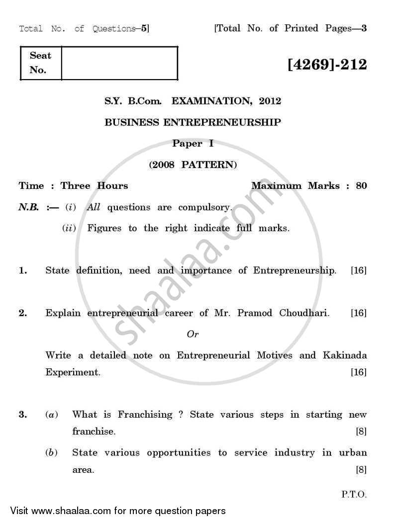 Question Paper - Business Entrepreneurship 1 2012 - 2013 - B.Com. - 2nd Year (SYBcom) - University of Pune