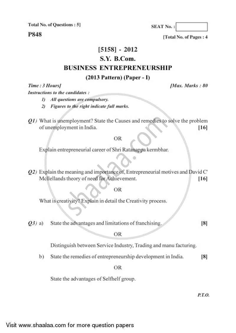 Business Entrepreneurship 1 2016-2017 Bachelor of Commerce