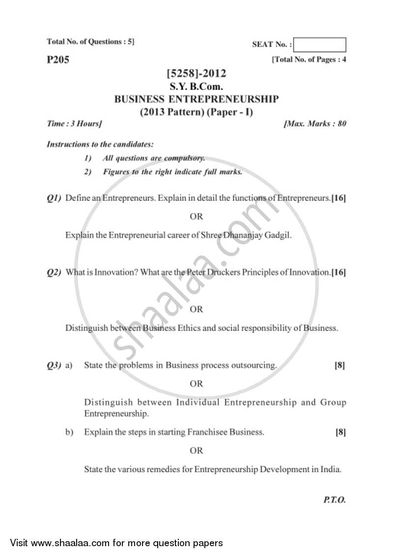 Question Paper - Business Entrepreneurship 1 2017-2018 - B.Com. - 2nd Year (SYBcom) - University of Pune with PDF download