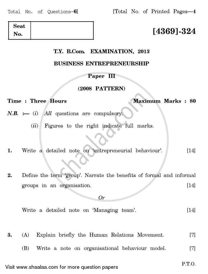 Question Paper - Business Entrepreneurship 3 2012 - 2013 - B.Com. - 3rd Year (TYBcom) - University of Pune
