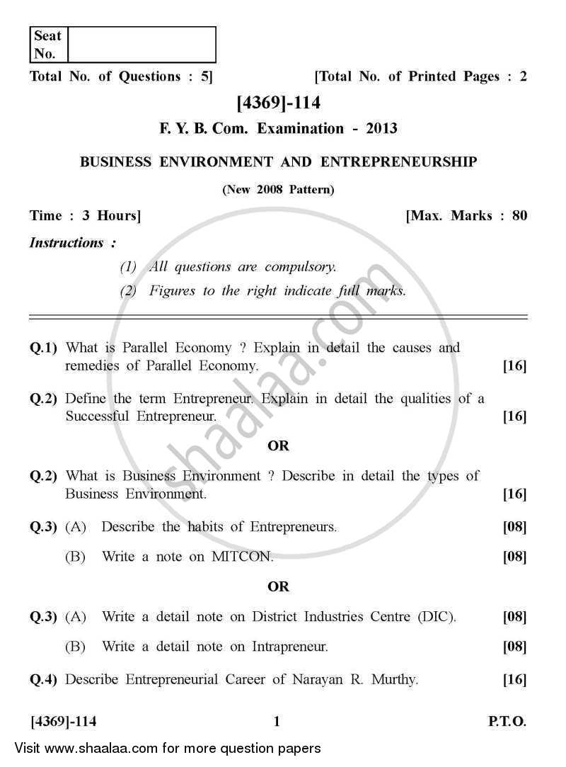 Business Environment and Entrepreneurship 2012-2013 - B.Com. - 1st Year (FYBcom) - University of Pune question paper with PDF download