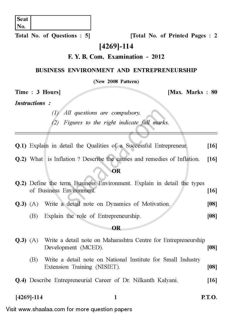 Question Paper - Business Environment and Entrepreneurship 2012 - 2013 - B.Com. - 1st Year (FYBcom) - University of Pune