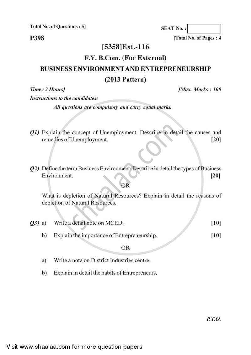 Business Environment and Entrepreneurship 2017-2018 - B.Com. - 1st Year (FYBcom) - University of Pune question paper with PDF download