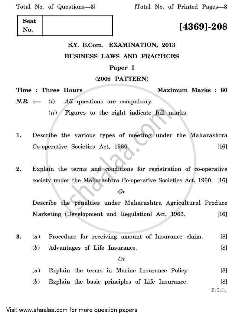 Business Laws and Practices 1 2012-2013 - B.Com. - 2nd Year (SYBcom) - University of Pune question paper with PDF download