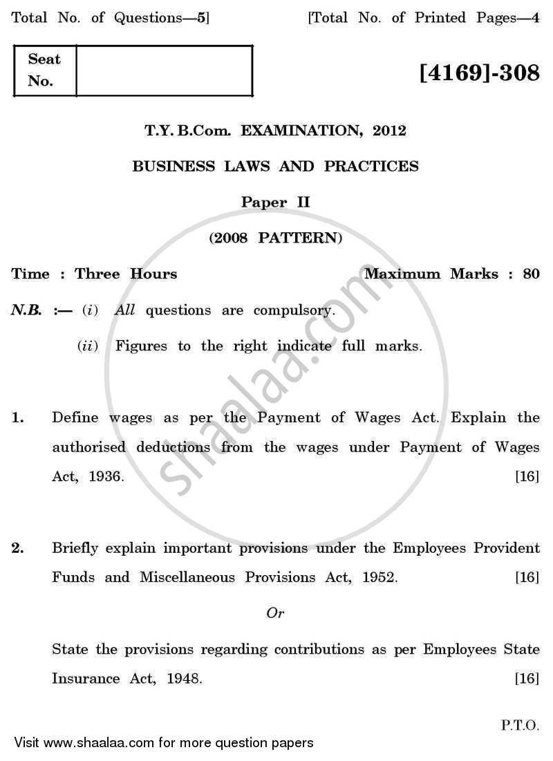Question Paper - Business Laws and Practices 2 2011 - 2012 - B.Com. - 3rd Year (TYBcom) - University of Pune