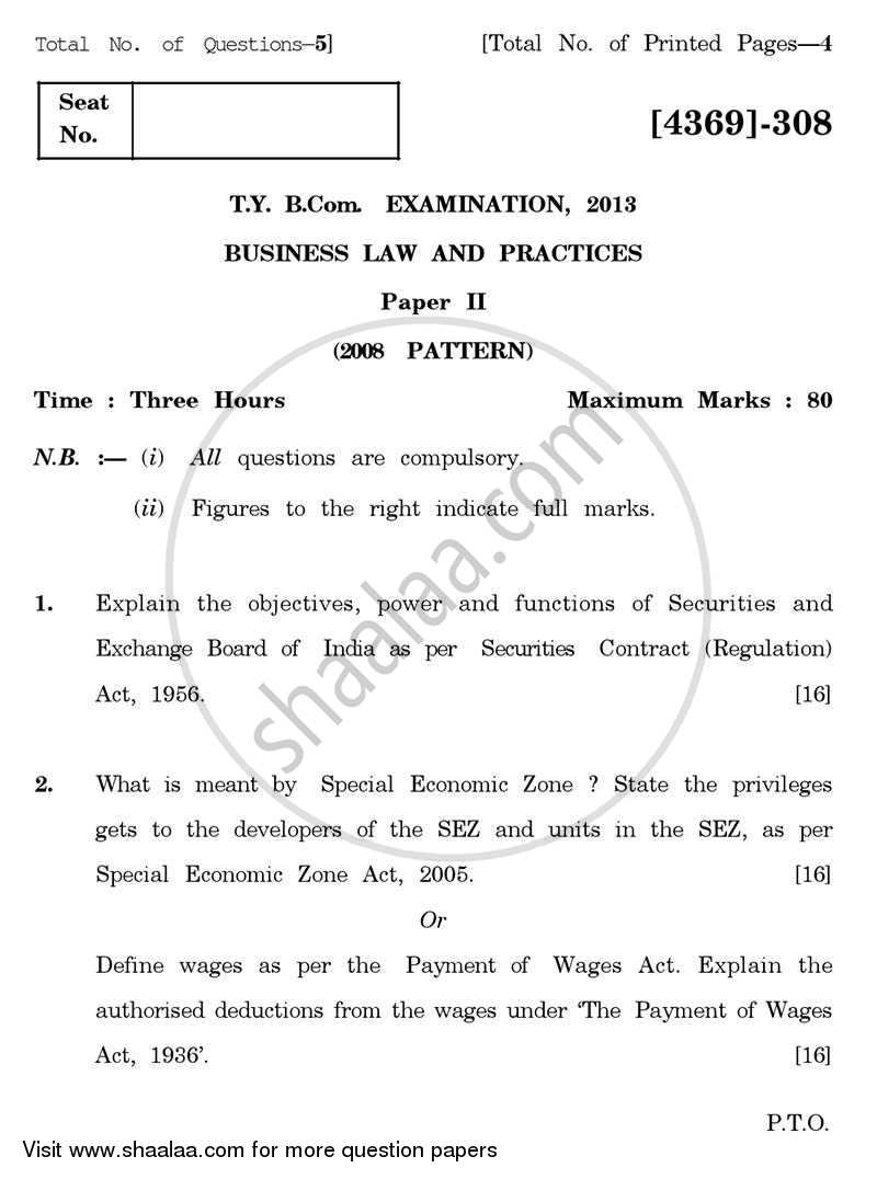 Question Paper - Business Laws and Practices 2 2012 - 2013 - B.Com. - 3rd Year (TYBcom) - University of Pune