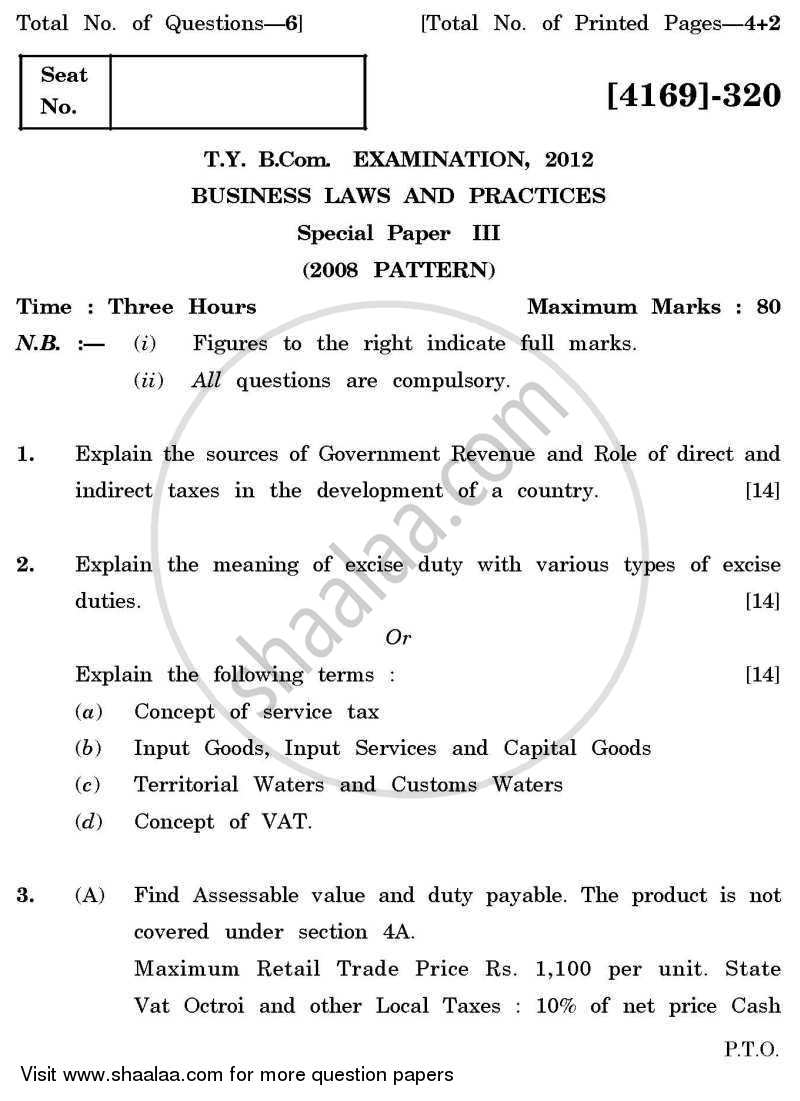 Question Paper - Business Laws and Practices 3 2011 - 2012 - B.Com. - 3rd Year (TYBcom) - University of Pune