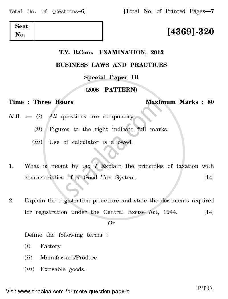 Question Paper - Business Laws and Practices 3 2012 - 2013 - B.Com. - 3rd Year (TYBcom) - University of Pune