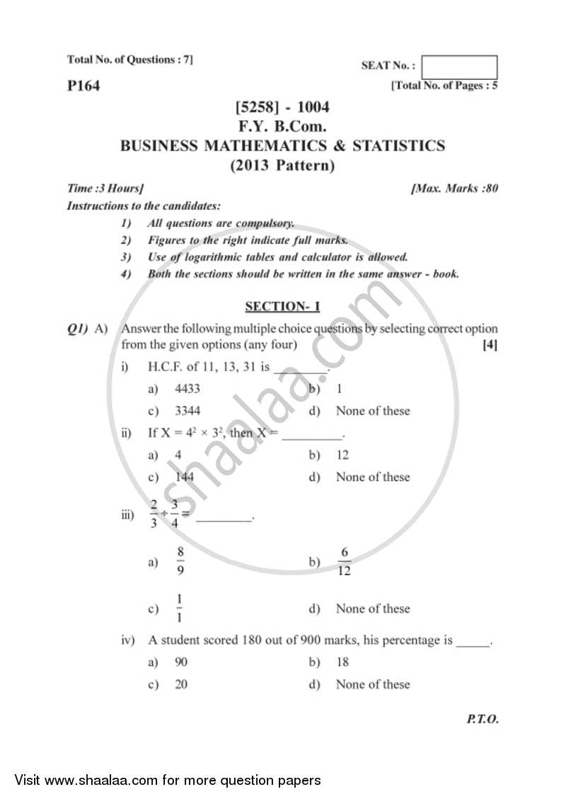 Business Mathematics and Statistics 2017-2018 Bachelor of Commerce