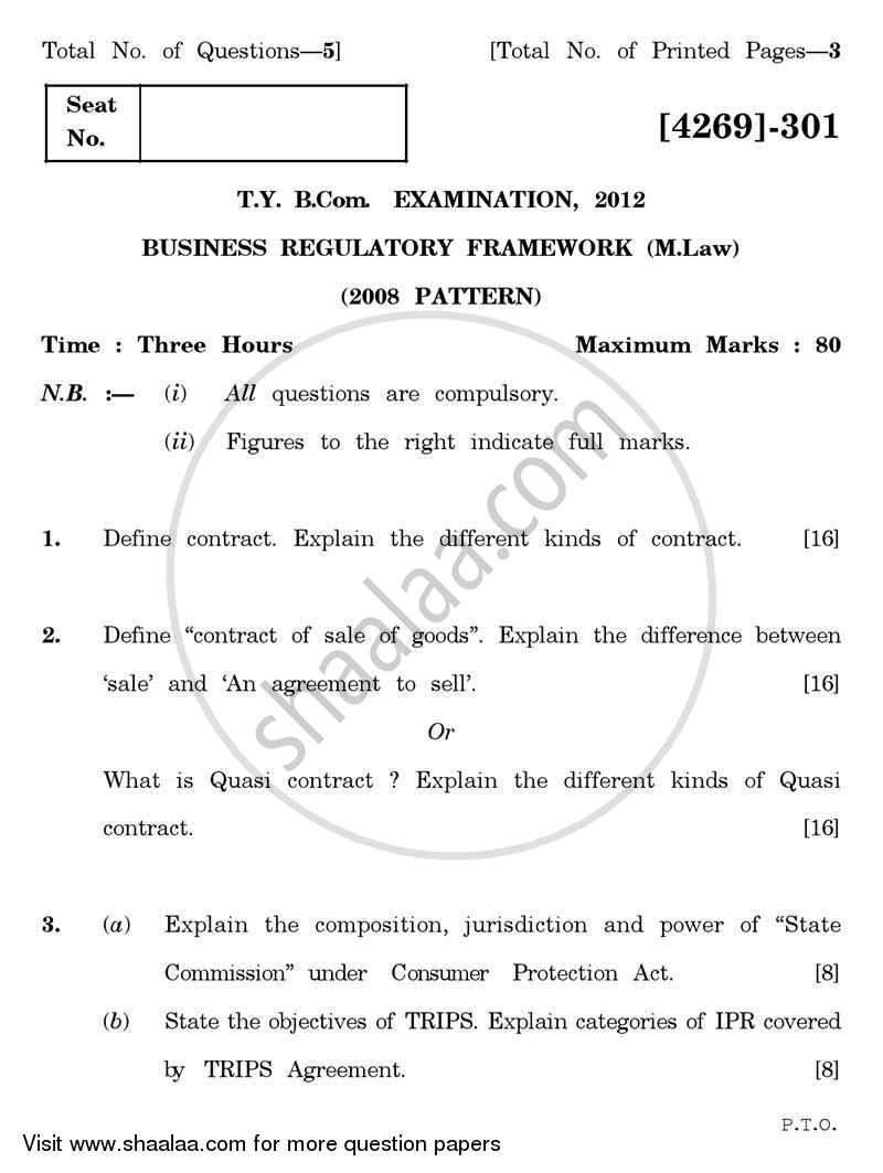 Question Paper - Business Regulatory Framework (Mercantile Law) 2011 - 2012 - B.Com. - 3rd Year (TYBcom) - University of Pune